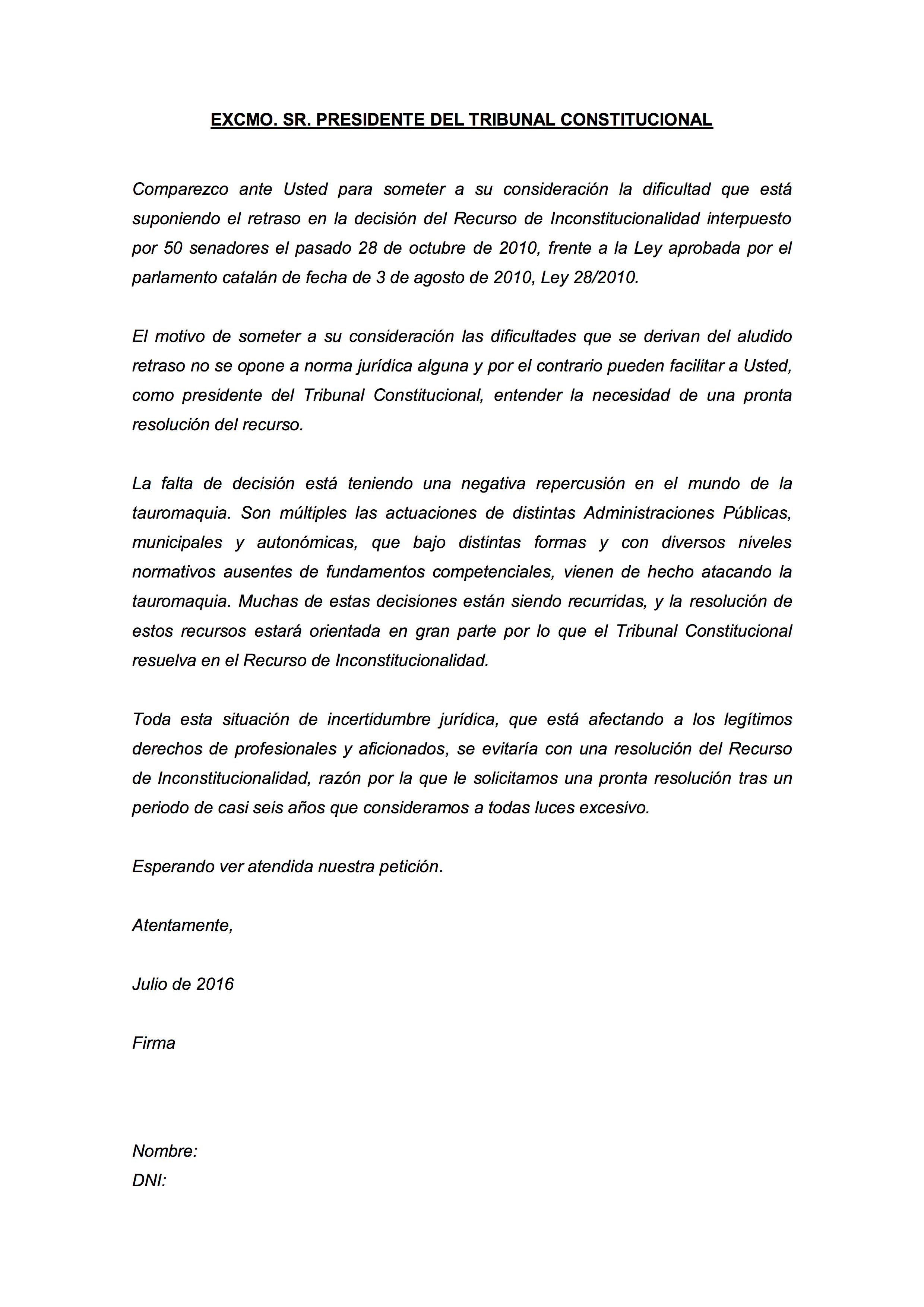 Carta al Tribunal Constitucional