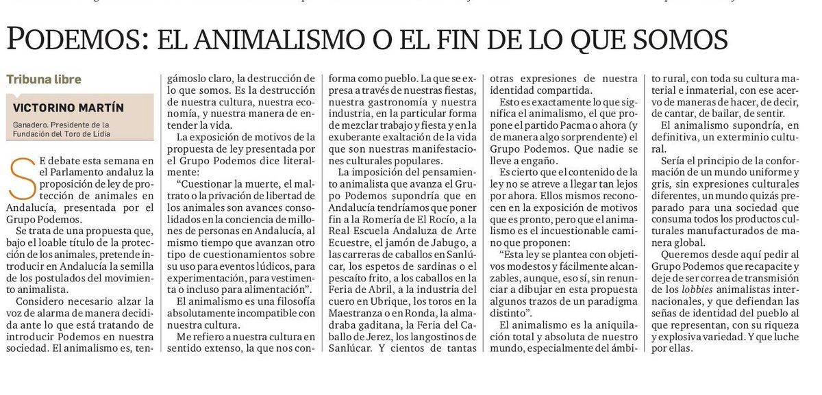 """Artículo: """"Podemos: el animalismo o el fin de lo que somos"""""""