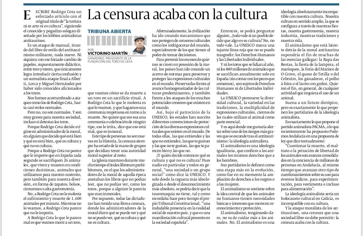 Artículo: «La censura acaba con la cultura cultura»