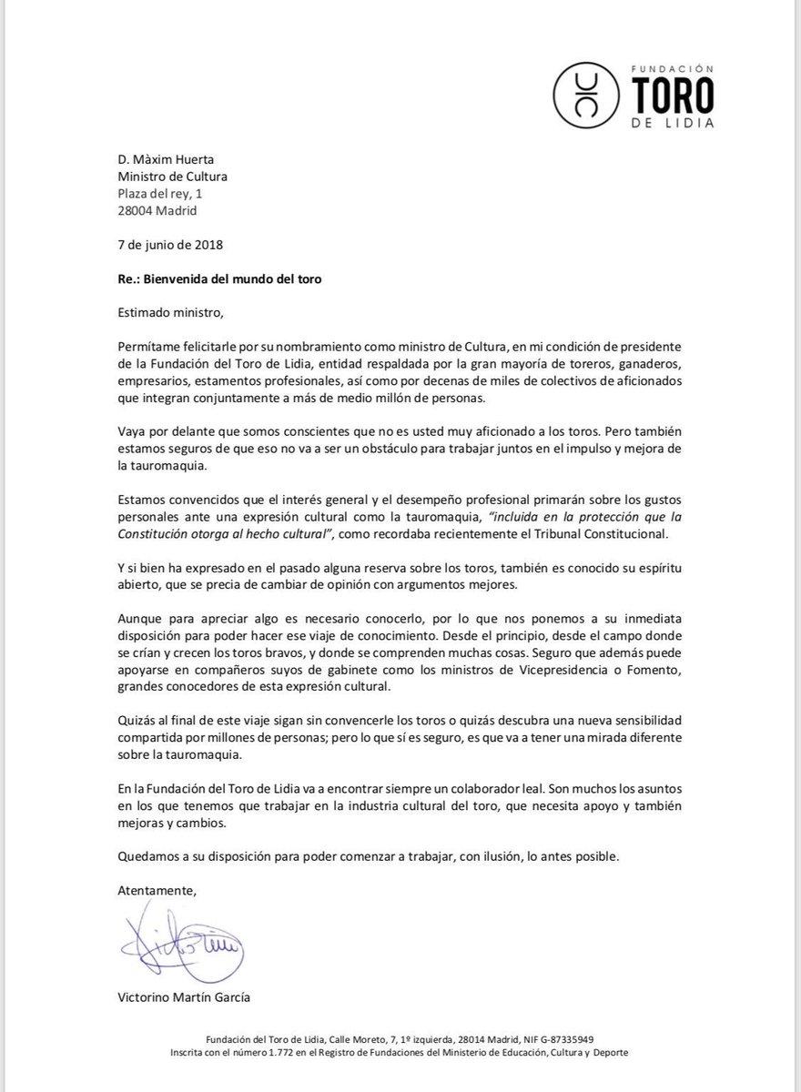 Carta abierta a Màxim Huerta, Ministro de Cultura y Deporte