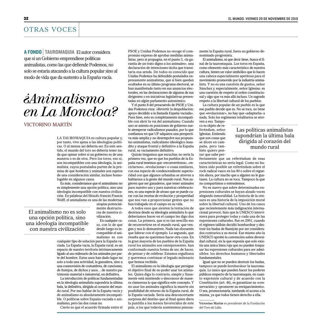 ¿Animalismo en La Moncloa?