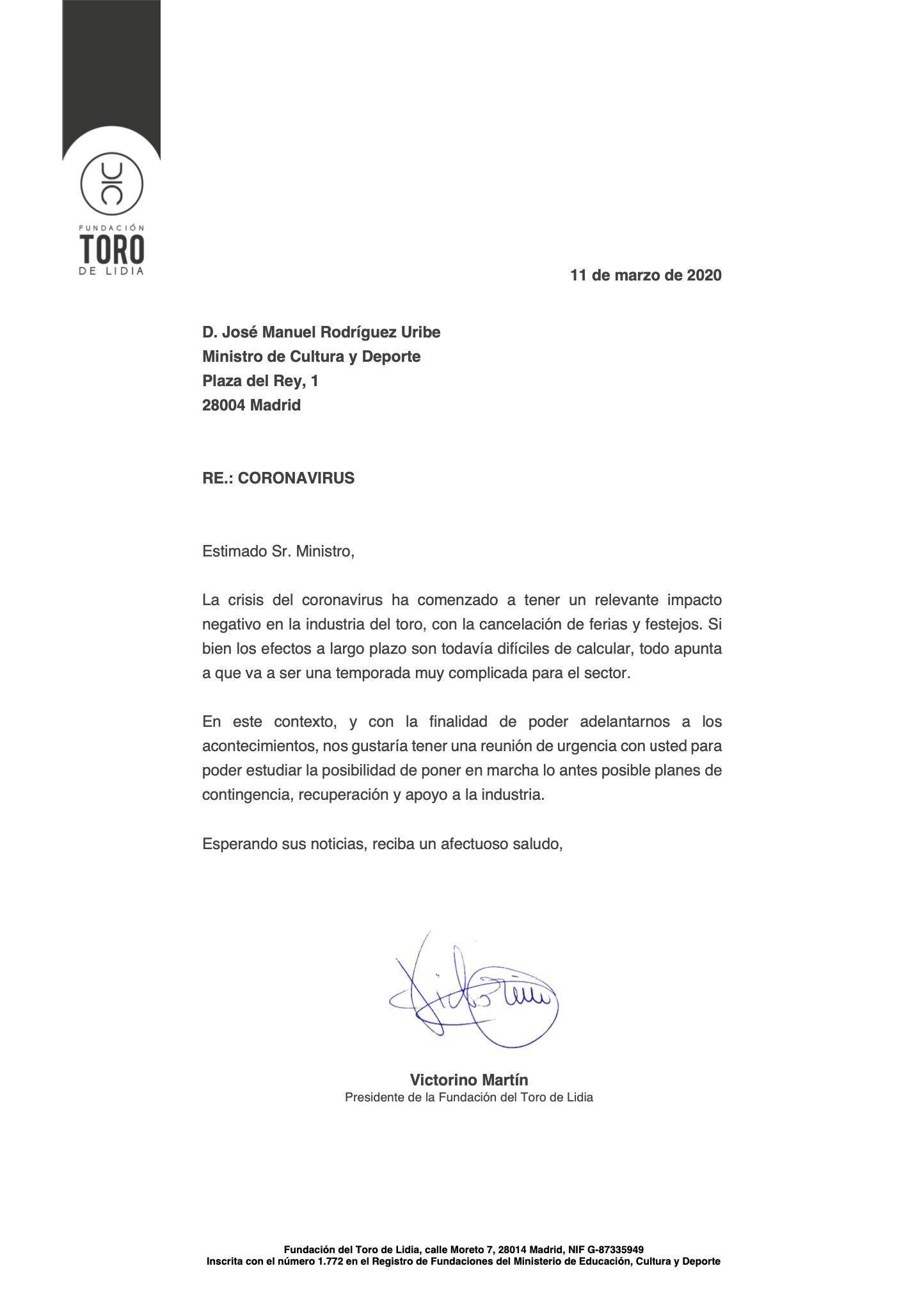 La FTL solicita una reunión con el Ministro de Cultura por la crisis del Coronavirus