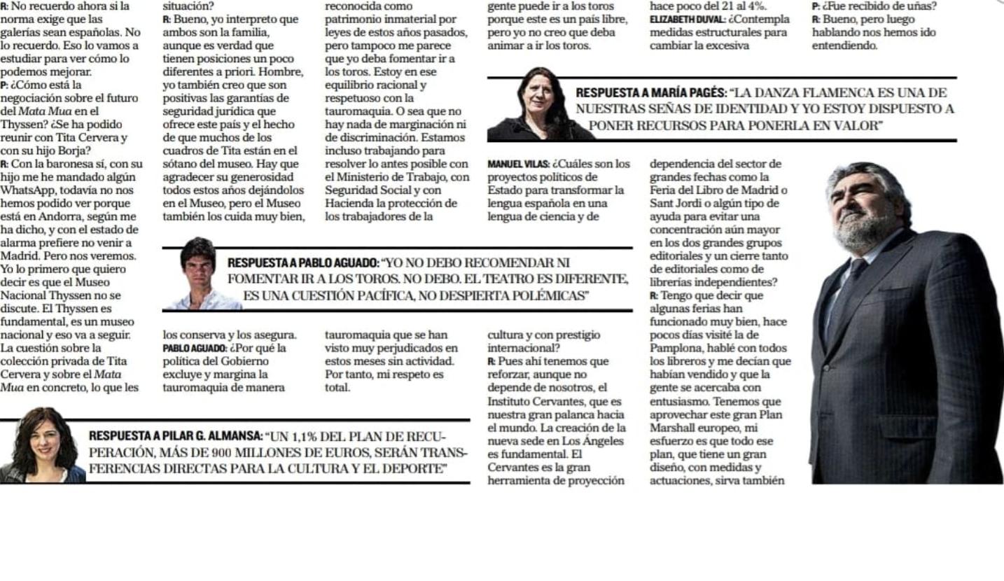 Carta de Victorino Martín al ministro de Cultura